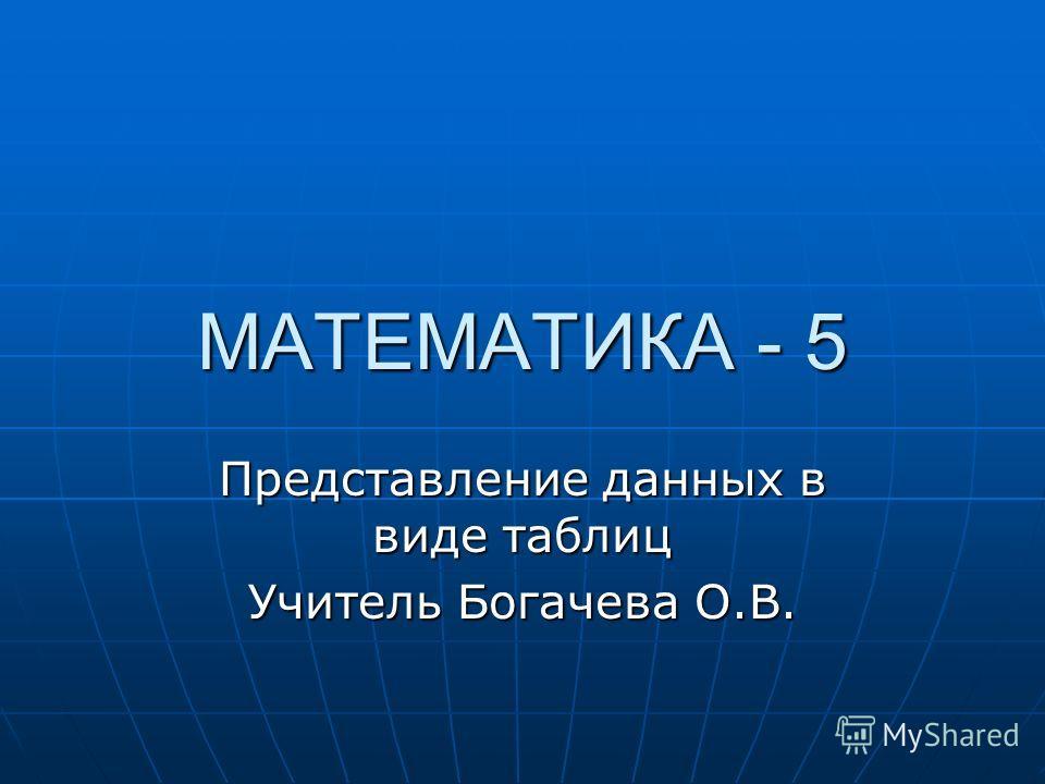 МАТЕМАТИКА - 5 Представление данных в виде таблиц Учитель Богачева О.В.