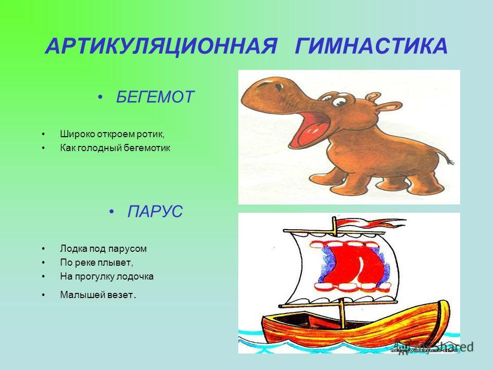 АРТИКУЛЯЦИОННАЯ ГИМНАСТИКА БЕГЕМОТ Широко откроем ротик, Как голодный бегемотик ПАРУС Лодка под парусом По реке плывет, На прогулку лодочка Малышей везет.