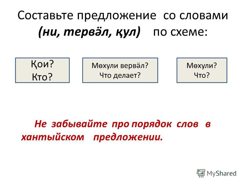 Составьте предложение со словами (ни, тервӛл, қул) по схеме: Не забывайте про порядок слов в хантыйском предложении. Қои? Кто? Мөхули? Что? Мөхули вервӛл? Что делает?