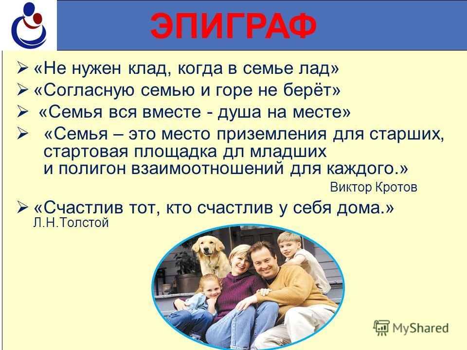 ЭПИГРАФ «Не нужен клад, когда в семье лад» «Согласную семью и горе не берёт» «Семья вся вместе - душа на месте» «Семья – это место приземления для старших, стартовая площадка дл младших и полигон взаимоотношений для каждого.» Виктор Кротов «Счастлив