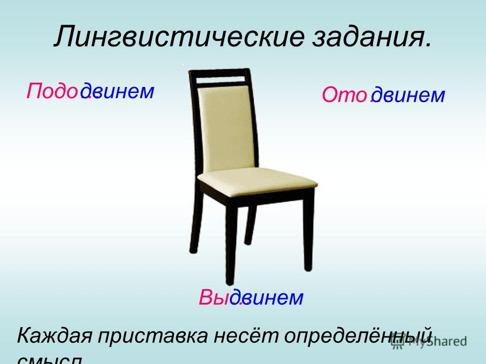 Лингвистические задания. Подо…двинем Ото…двинем Вы…двинем Каждая приставка несёт определённый смысл