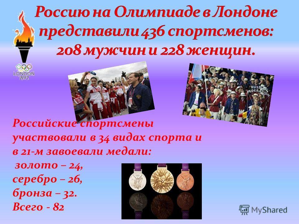 Российские спортсмены участвовали в 34 видах спорта и в 21-м завоевали медали: золото – 24, серебро – 26, бронза – 32. Всего - 82
