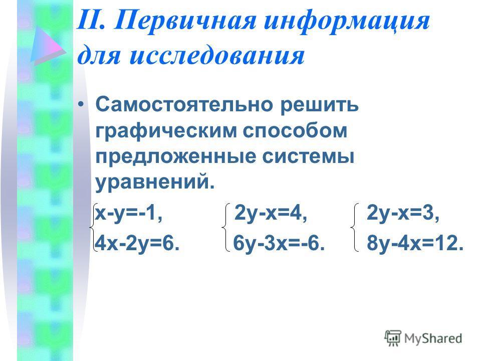 II. Первичная информация для исследования Самостоятельно решить графическим способом предложенные системы уравнений. х-у=-1, 2у-х=4, 2у-х=3, 4х-2у=6. 6у-3х=-6. 8у-4х=12.