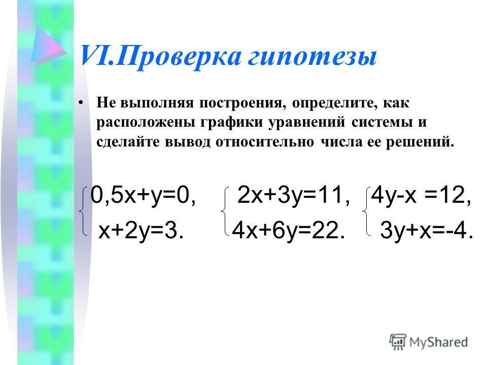 VI.Проверка гипотезы Не выполняя построения, определите, как расположены графики уравнений системы и сделайте вывод относительно числа ее решений. 0,5х+у=0, 2х+3у=11, 4у-х =12, х+2у=3. 4х+6у=22. 3у+х=-4.