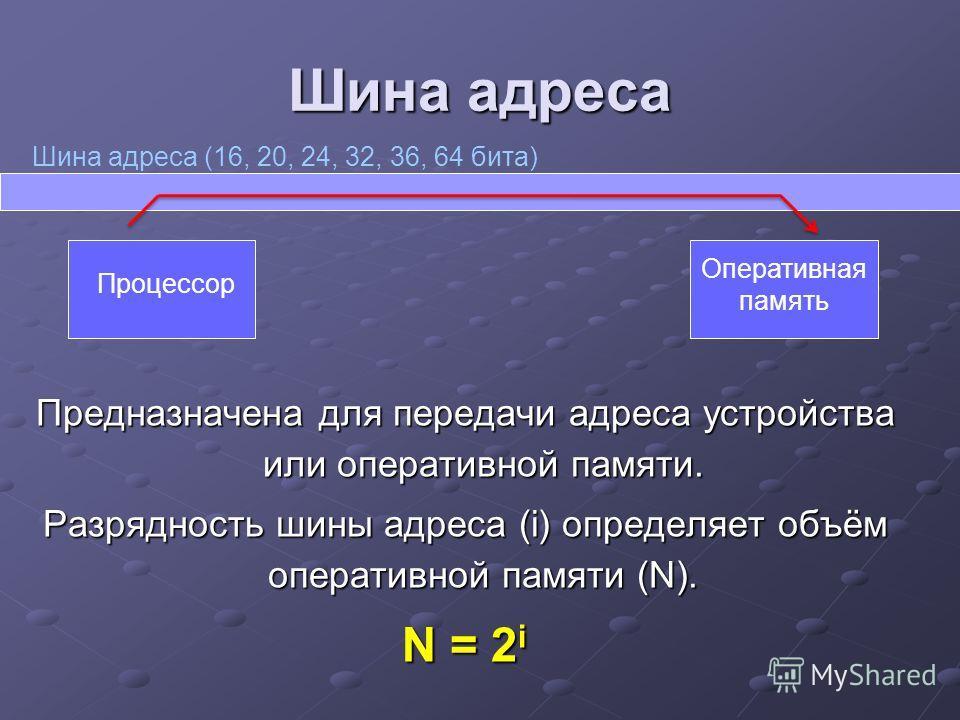 Шина адреса Предназначена для передачи адреса устройства или оперативной памяти. Разрядность шины адреса (i) определяет объём оперативной памяти (N). N = 2 i Шина адреса (16, 20, 24, 32, 36, 64 бита) Процессор Оперативная память