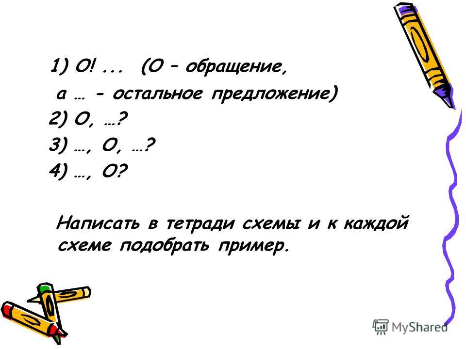 1) О!... (О – обращение, а … - остальное предложение) 2) О, …? 3) …, О, …? 4) …, О? Написать в тетради схемы и к каждой схеме подобрать пример.