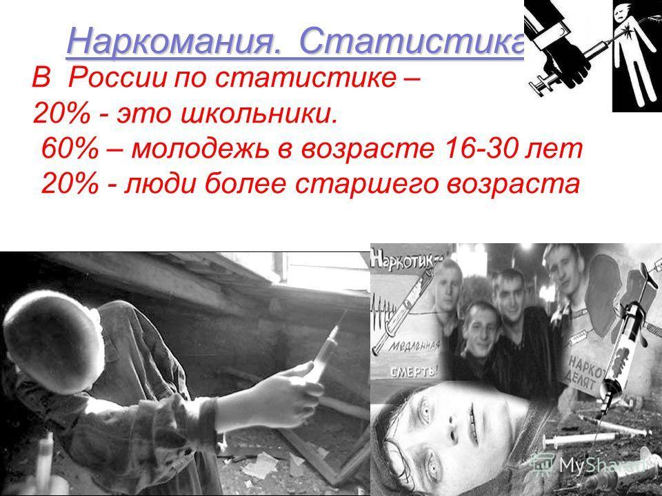 Наркомания. Статистика В России по статистике – 20% - это школьники. 60% – молодежь в возрасте 16-30 лет 20% - люди более старшего возраста