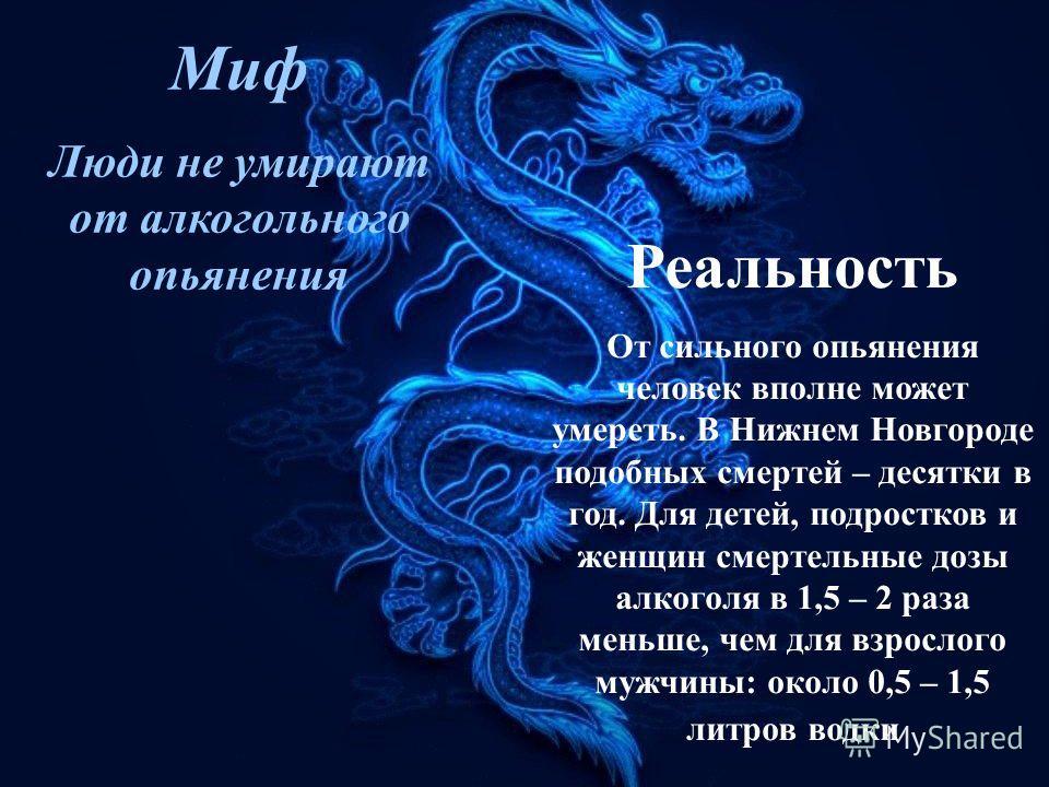 Миф Люди не умирают от алкогольного опьянения Реальность От сильного опьянения человек вполне может умереть. В Нижнем Новгороде подобных смертей – десятки в год. Для детей, подростков и женщин смертельные дозы алкоголя в 1,5 – 2 раза меньше, чем для