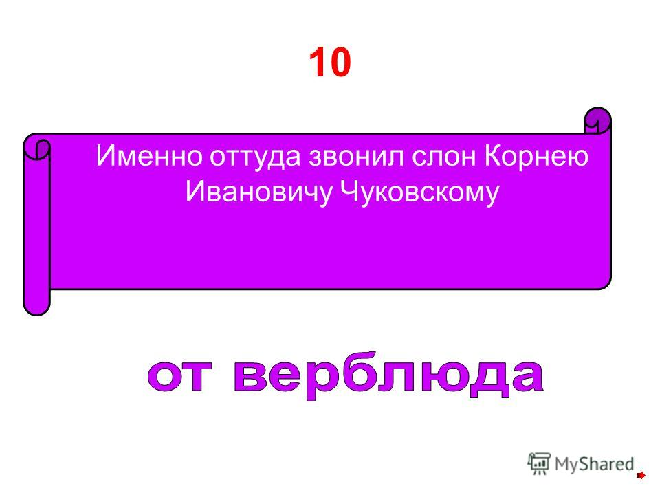 10 Именно оттуда звонил слон Корнею Ивановичу Чуковскому