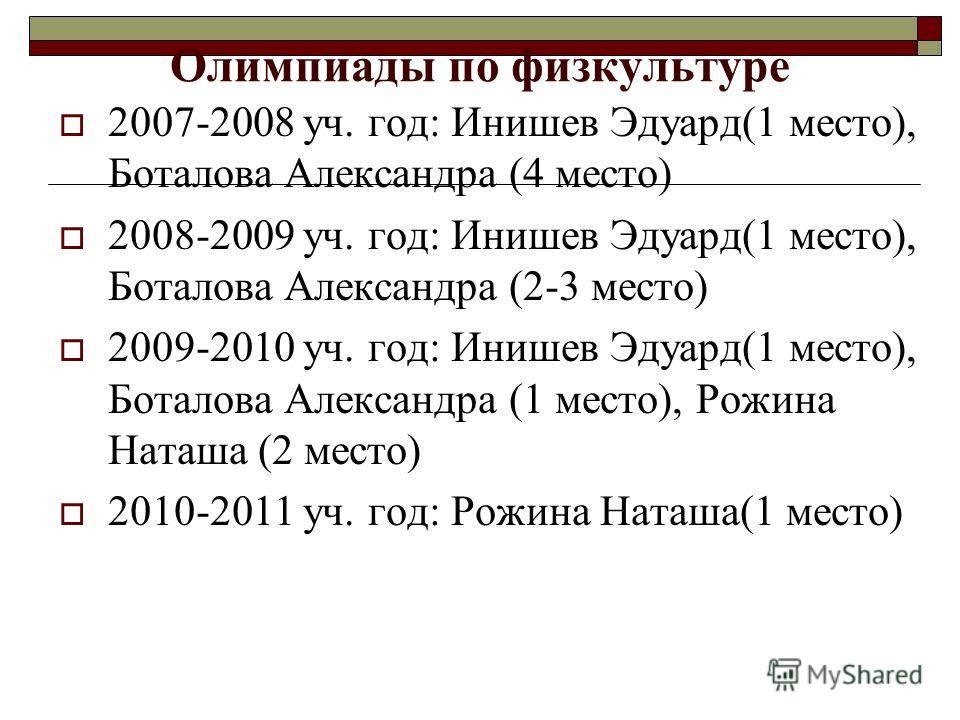 Олимпиады по физкультуре 2007-2008 уч. год: Инишев Эдуард(1 место), Боталова Александра (4 место) 2008-2009 уч. год: Инишев Эдуард(1 место), Боталова Александра (2-3 место) 2009-2010 уч. год: Инишев Эдуард(1 место), Боталова Александра (1 место), Рож