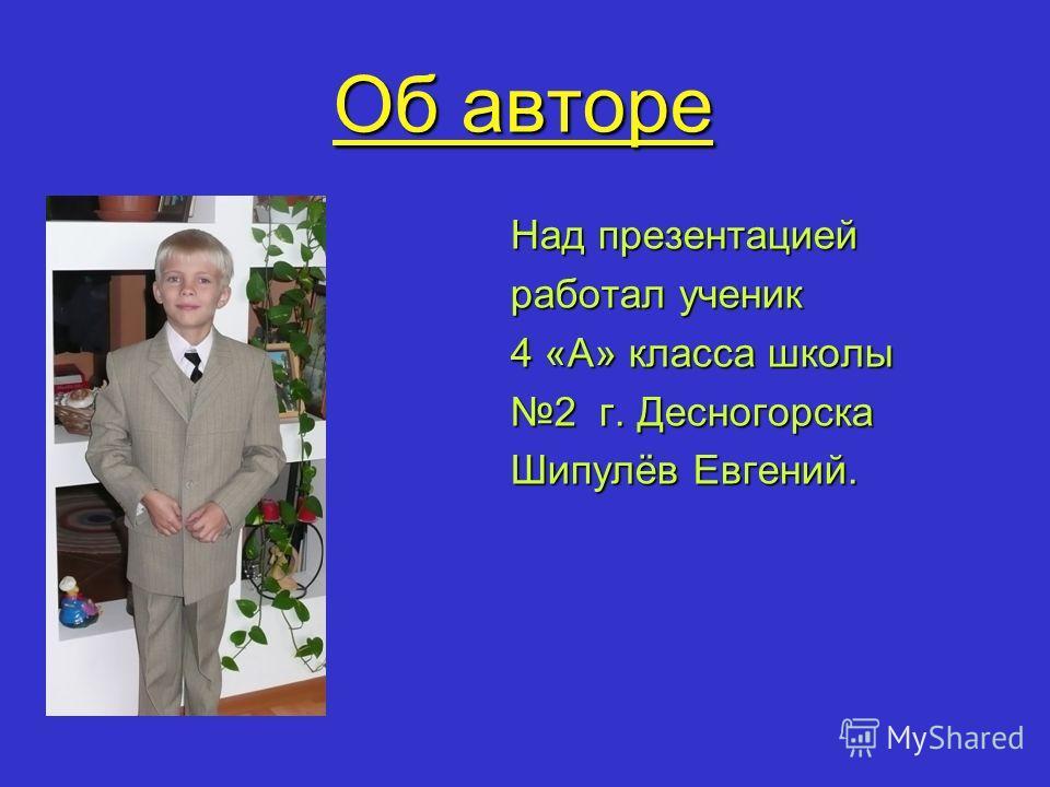 Об авторе Над презентацией работал ученик 4 «А» класса школы 2 г. Десногорска Шипулёв Евгений.