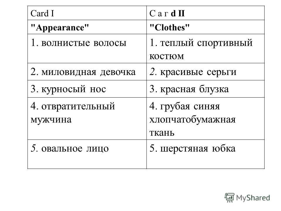 Card IС а г d II