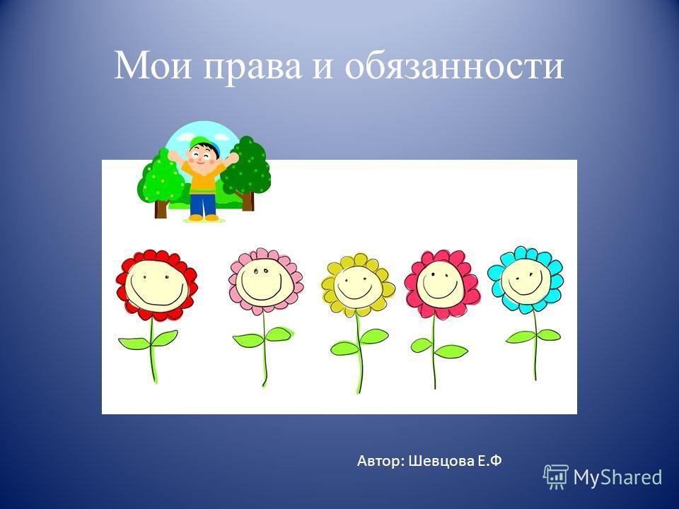 Мои права и обязанности Автор: Шевцова Е.Ф