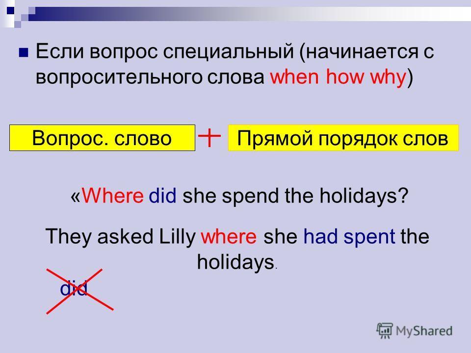 Если вопрос специальный (начинается с вопросительного слова when how why) Вопрос. слово Прямой порядок слов «Where did she spend the holidays? They asked Lilly where she had spent the holidays. did