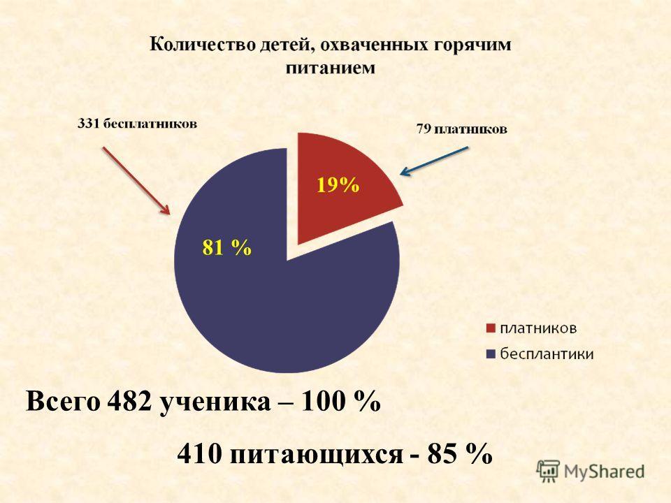 Всего 482 ученика – 100 % 410 питающихся - 85 % 81 %
