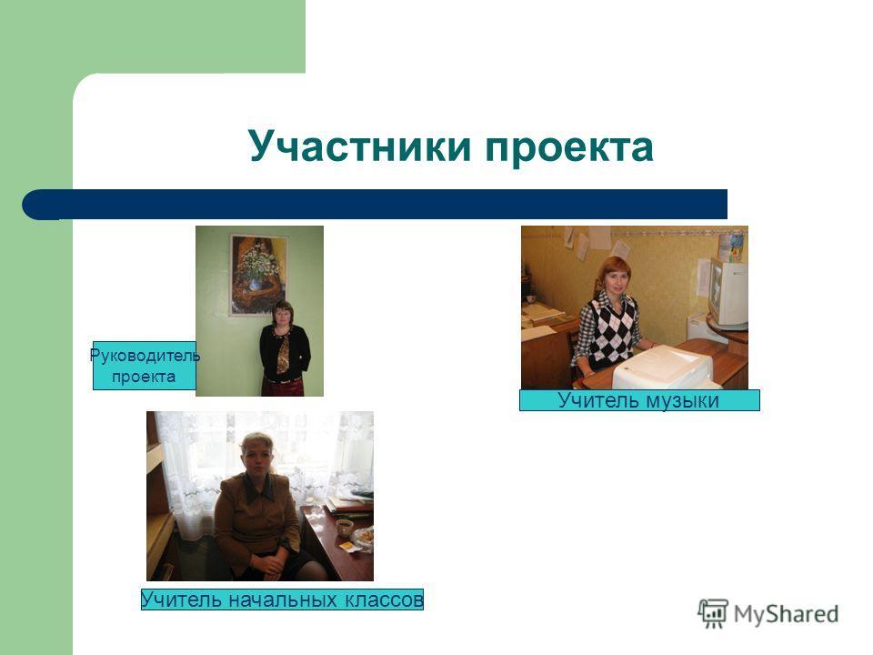 Участники проекта Руководитель проекта Учитель музыки Учитель начальных классов