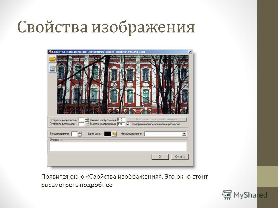 Свойства изображения Появится окно «Свойства изображения». Это окно стоит рассмотреть подробнее