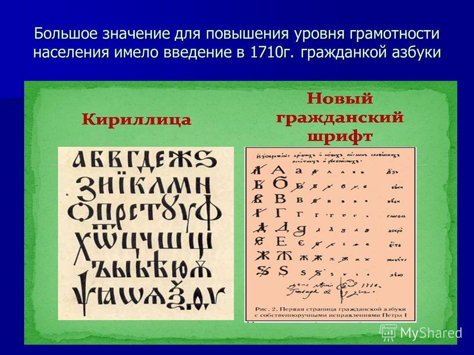 Большое значение для повышения уровня грамотности населения имело введение в 1710г. гражданкой азбуки