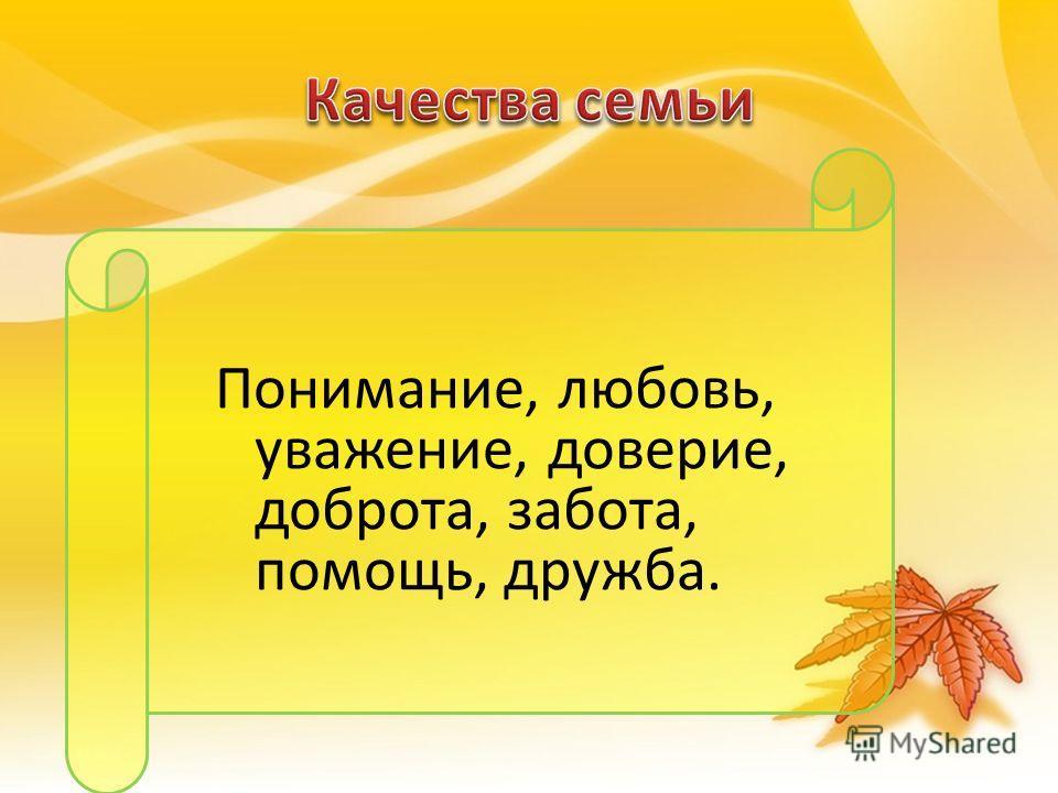 Понимание, любовь, уважение, доверие, доброта, забота, помощь, дружба.