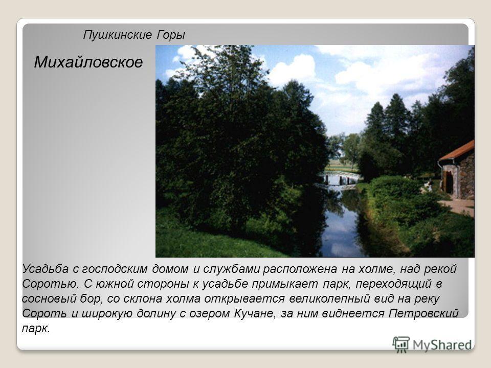 Пушкинские Горы Михайловское Усадьба с господским домом и службами расположена на холме, над рекой Соротью. С южной стороны к усадьбе примыкает парк, переходящий в сосновый бор, со склона холма открывается великолепный вид на реку Сороть и широкую до