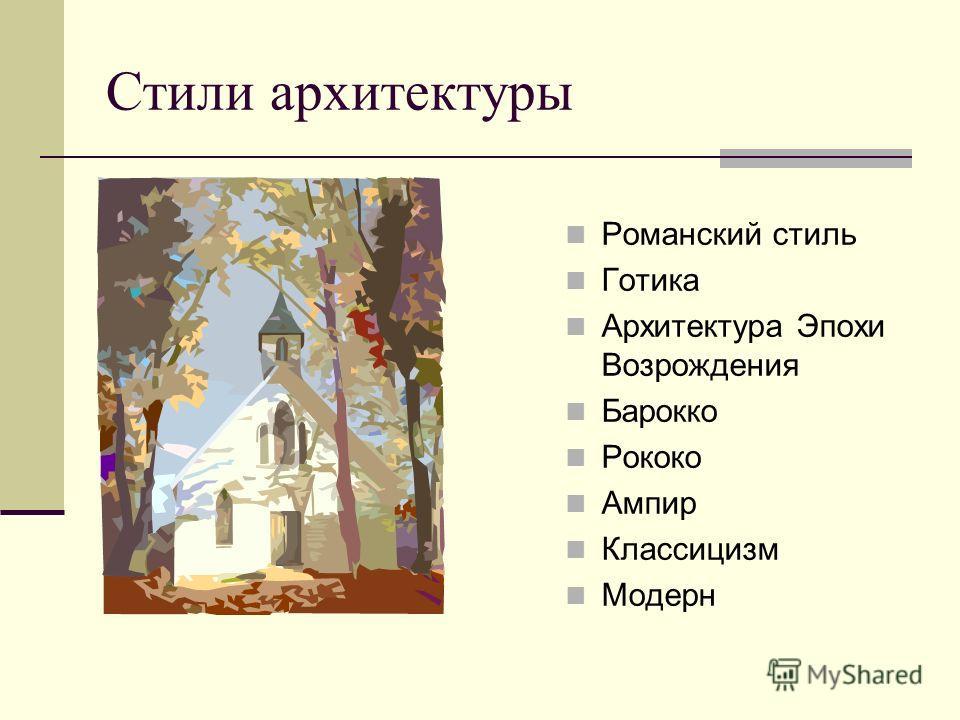 Стили архитектуры Романский стиль Готика Архитектура Эпохи Возрождения Барокко Рококо Ампир Классицизм Модерн