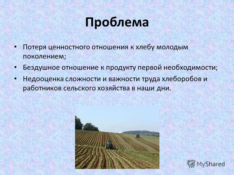 Проблема Потеря ценностного отношения к хлебу молодым поколением; Бездушное отношение к продукту первой необходимости; Недооценка сложности и важности труда хлеборобов и работников сельского хозяйства в наши дни.