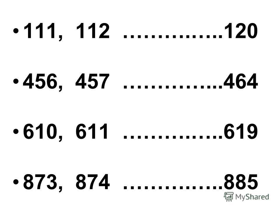 111, 112 ……….…..120 456, 457 …………...464 610, 611 ……….…..619 873, 874 ……….…..885