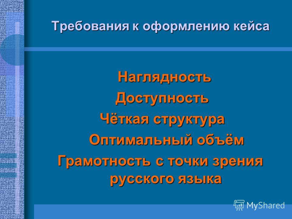 Требования к оформлению кейса Наглядность Наглядность Доступность Доступность Чёткая структура Чёткая структура Оптимальный объём Оптимальный объём Грамотность с точки зрения русского языка