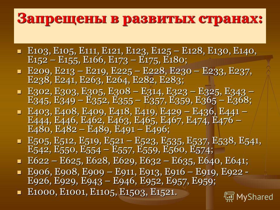 Запрещены в развитых странах: Е103, Е105, Е111, Е121, Е123, Е125 – Е128, Е130, Е140, Е152 – Е155, Е166, Е173 – Е175, Е180; Е103, Е105, Е111, Е121, Е123, Е125 – Е128, Е130, Е140, Е152 – Е155, Е166, Е173 – Е175, Е180; Е209, Е213 – Е219, Е225 – Е228, Е2