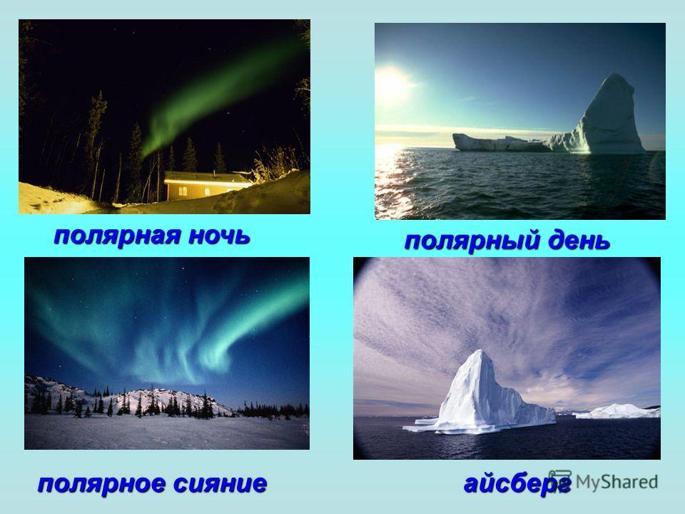полярная ночь полярное сияние полярный день айсберг