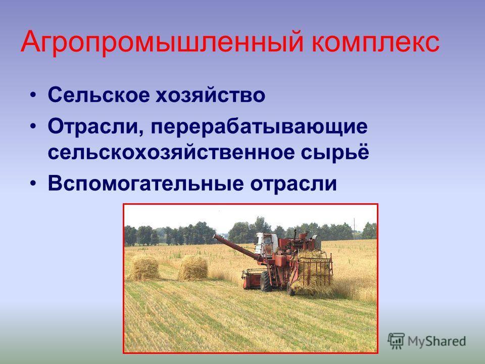 Агропромышленный комплекс Сельское хозяйство Отрасли, перерабатывающие сельскохозяйственное сырьё Вспомогательные отрасли