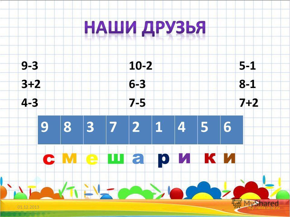 9-3 10-2 5-1 3+2 6-3 8-1 4-3 7-5 7+2 01.12.20132 983721456 с м е ш а р ики