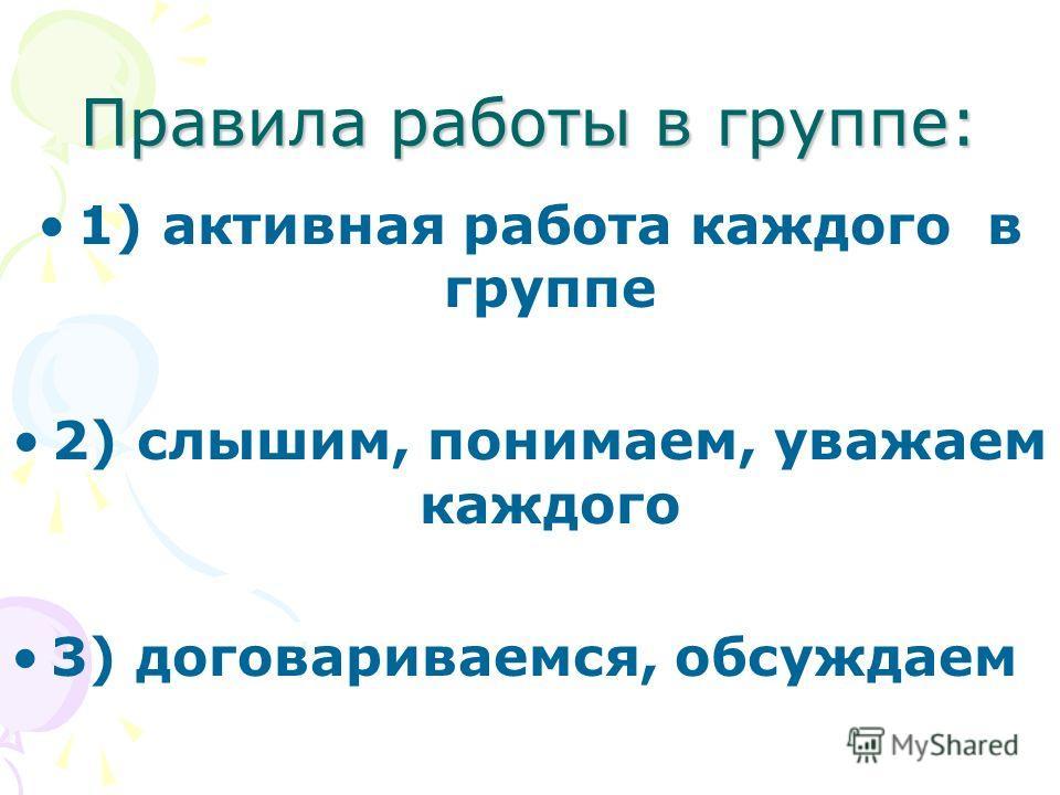 Правила работы в группе: 1) активная работа каждого в группе 2) слышим, понимаем, уважаем каждого 3) договариваемся, обсуждаем