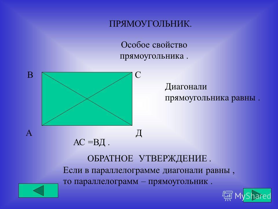 ПРЯМОУГОЛЬНИК. Особое свойство прямоугольника. А ВС Д Диагонали прямоугольника равны. АС =ВД. ОБРАТНОЕ УТВЕРЖДЕНИЕ. Если в параллелограмме диагонали равны, то параллелограмм – прямоугольник.
