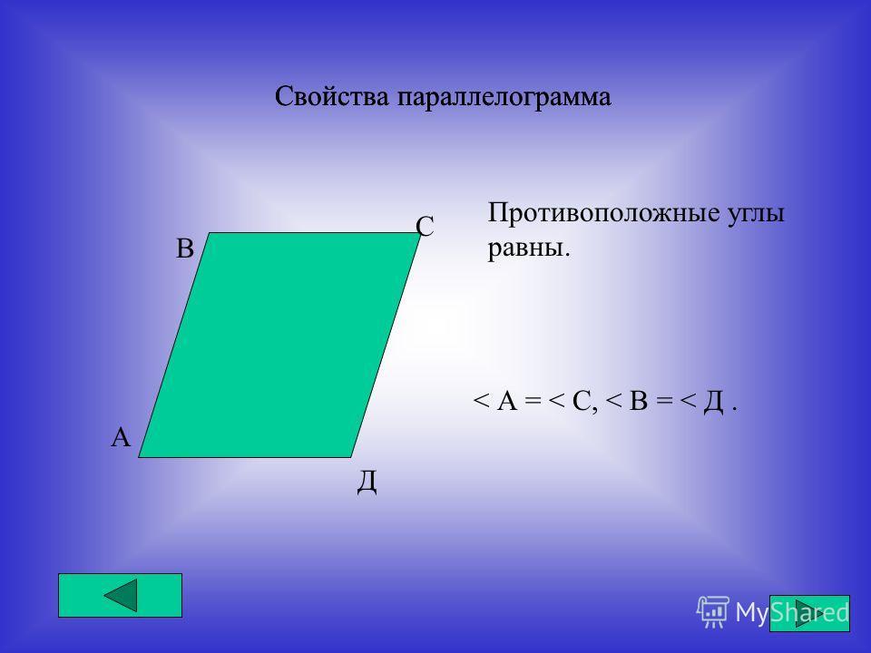 Свойства параллелограмма А В С Д Противоположные углы равны. < А = < С, < В = < Д.