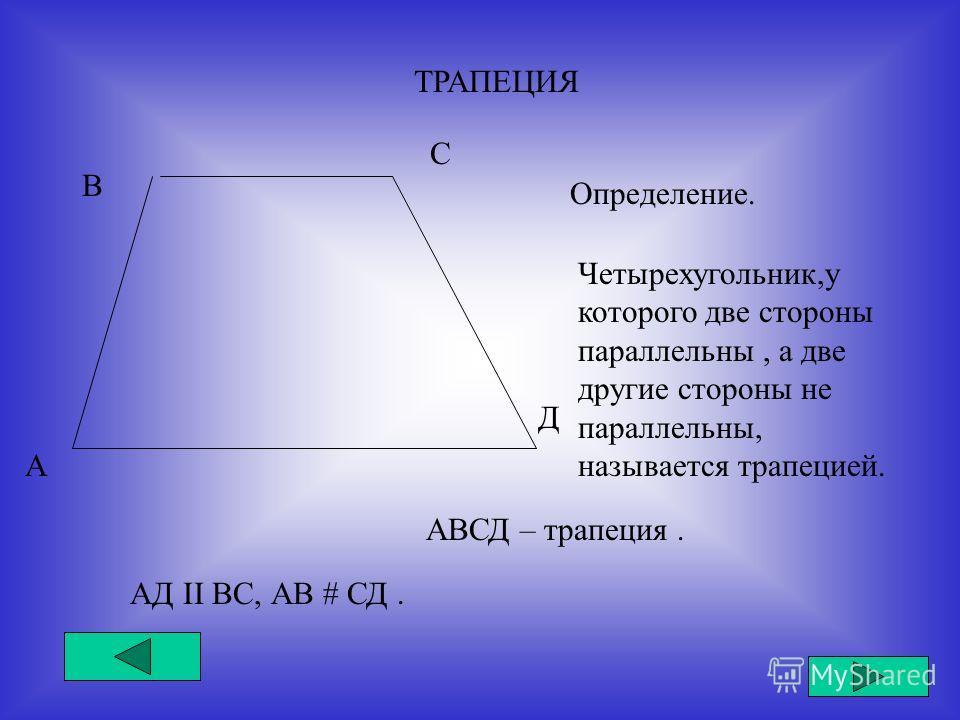 ТРАПЕЦИЯ А В С Д Определение. Четырехугольник,у которого две стороны параллельны, а две другие стороны не параллельны, называется трапецией. АД II ВС, АВ # СД. АВСД – трапеция.