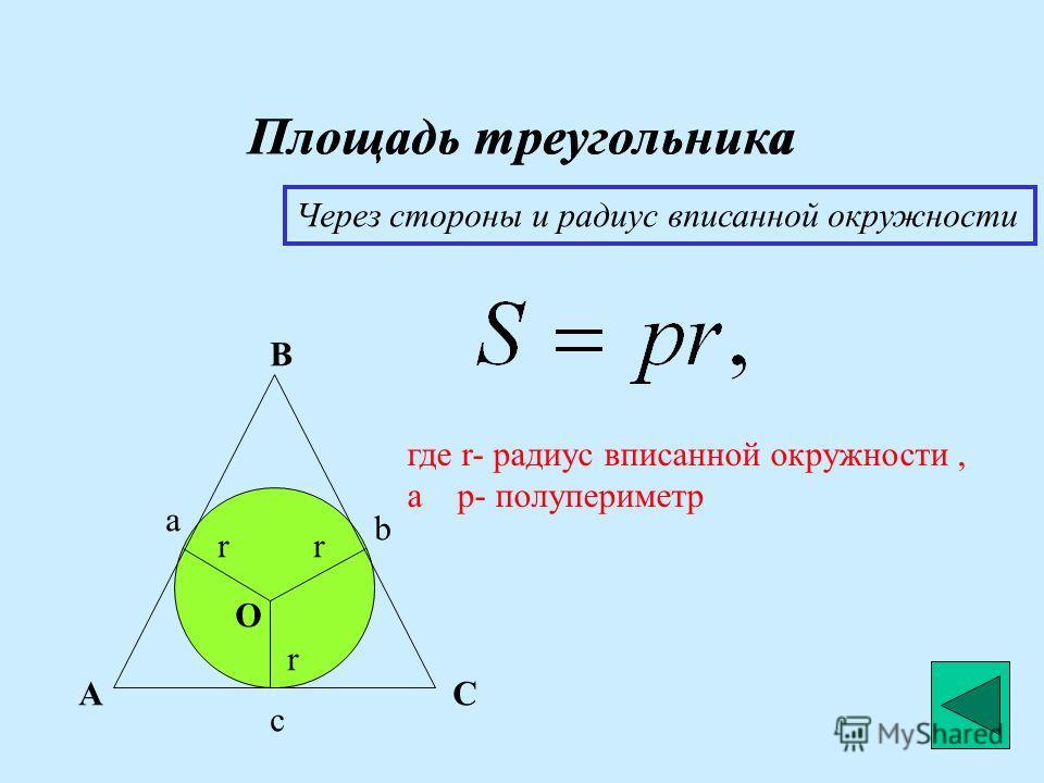 Площадь треугольника Площадь треугольника B A B C R R O R b a c Через стороны и радиус описанной окружности где R радиус описанной окружности,