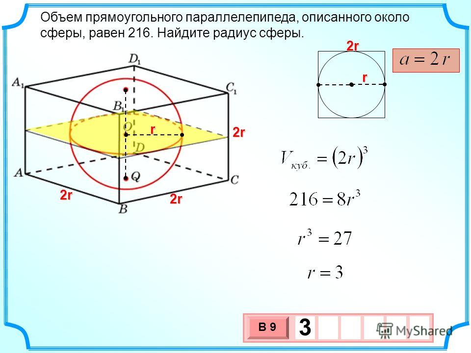 Объем прямоугольного параллелепипеда, описанного около сферы, равен 216. Найдите радиус сферы. r r 3 х 1 0 х В 9 3 2r2r2r2r 2r2r2r2r 2r2r2r2r 2r2r2r2r