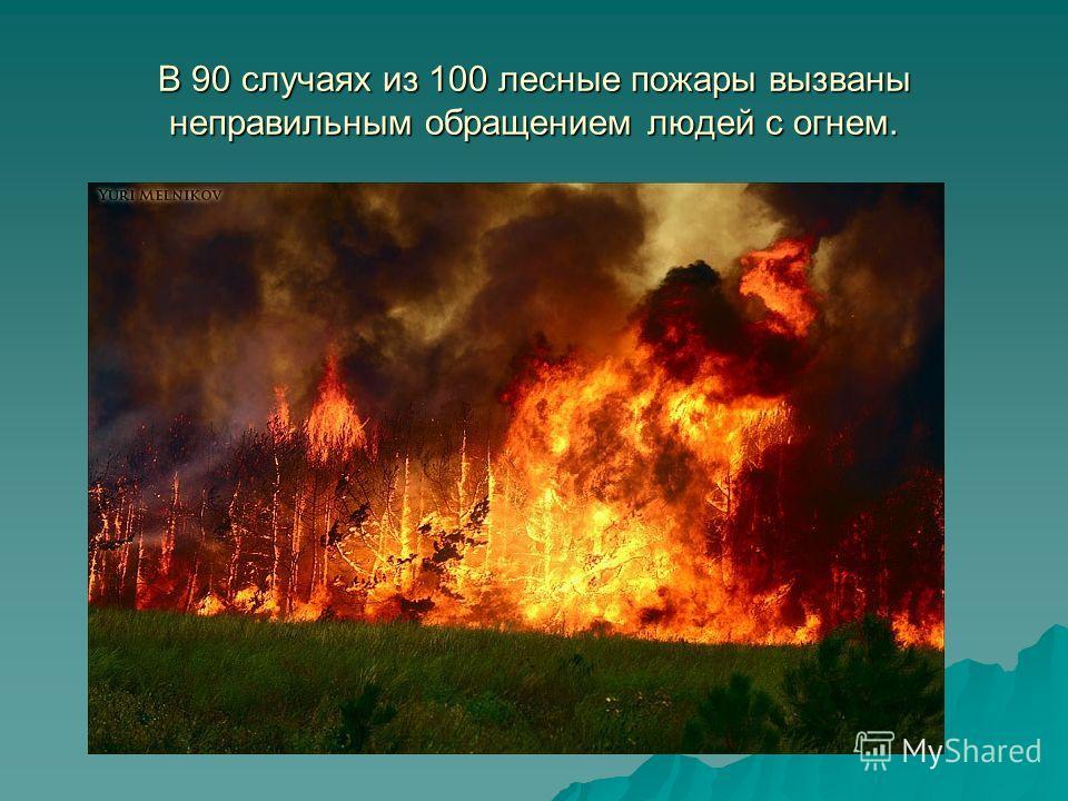 В 90 случаях из 100 лесные пожары вызваны неправильным обращением людей с огнем.