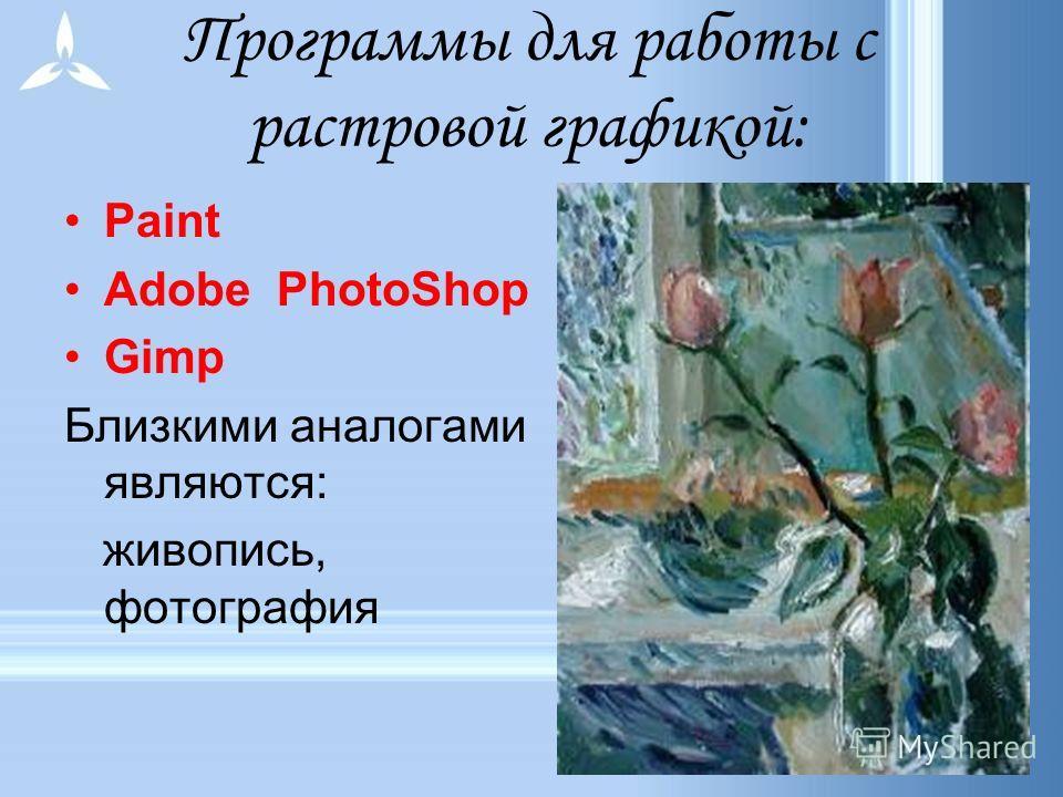 Применение: ретуширование, реставрирование фотографий; создание и обработка фотомонтажа; после сканирования изображения получаются в растровом виде