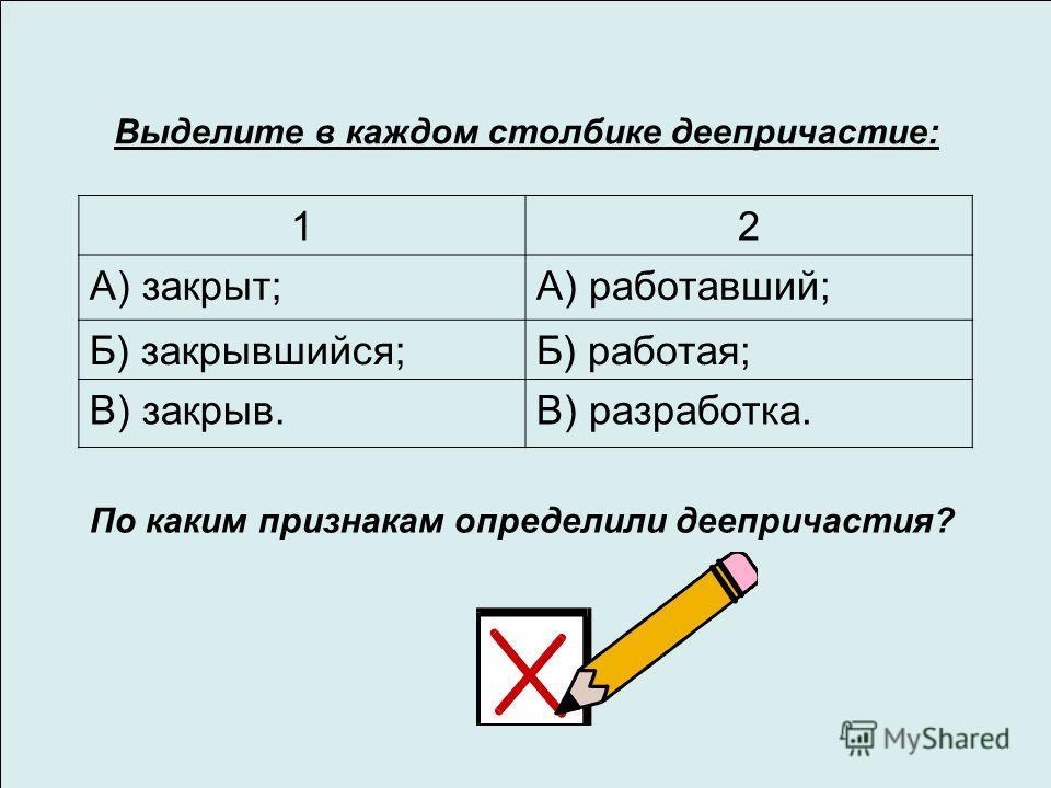 Выделите в каждом столбике деепричастие: 12 А) закрыт;А) работавший; Б) закрывшийся;Б) работая; В) закрыв.В) разработка. По каким признакам определили деепричастия?