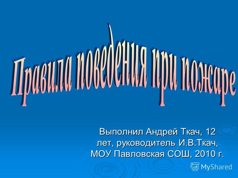Выполнил Андрей Ткач, 12 лет, руководитель И.В.Ткач, МОУ Павловская СОШ, 2010 г.