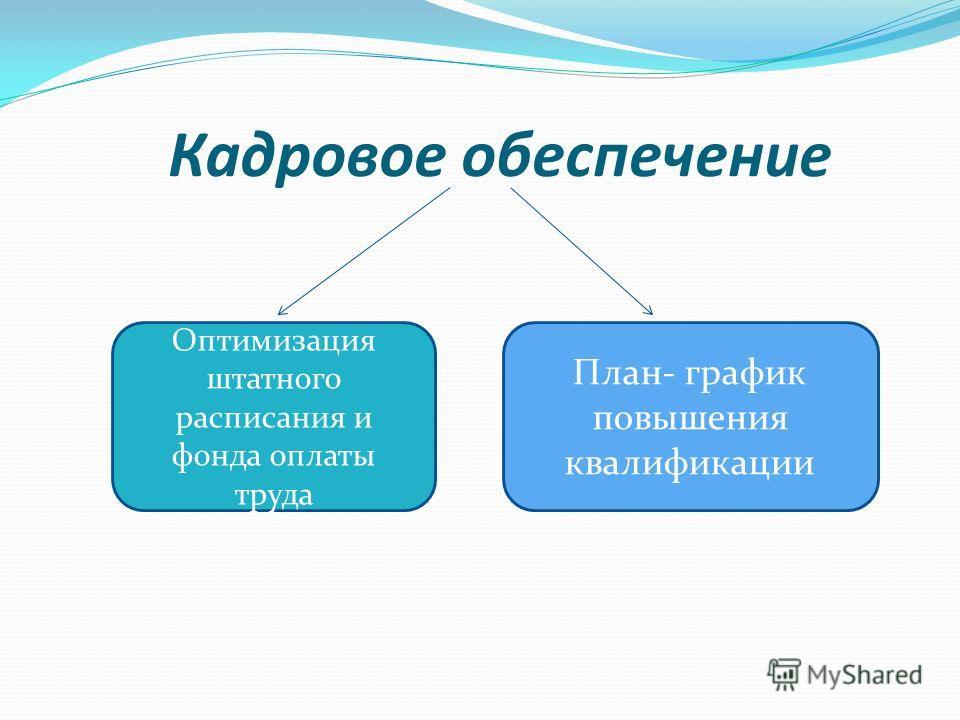 Кадровое обеспечение Оптимизация штатного расписания и фонда оплаты труда План- график повышения квалификации