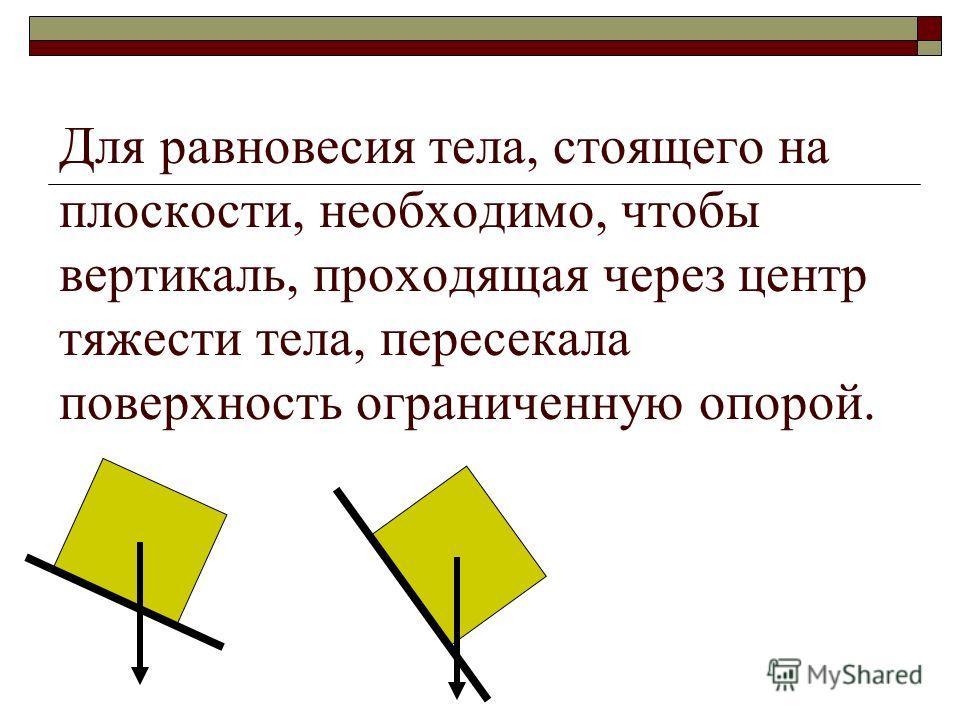 Для равновесия тела, стоящего на плоскости, необходимо, чтобы вертикаль, проходящая через центр тяжести тела, пересекала поверхность ограниченную опорой.
