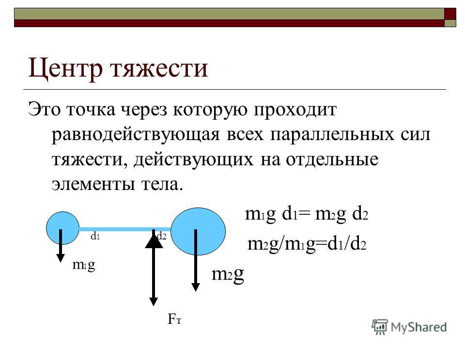 Центр тяжести Это точка через которую проходит равнодействующая всех параллельных сил тяжести, действующих на отдельные элементы тела. m 1 g d 1 = m 2 g d 2 m 2 g/m 1 g=d 1 /d 2 m1gm1g m2gm2g FтFт d1d1 d2d2
