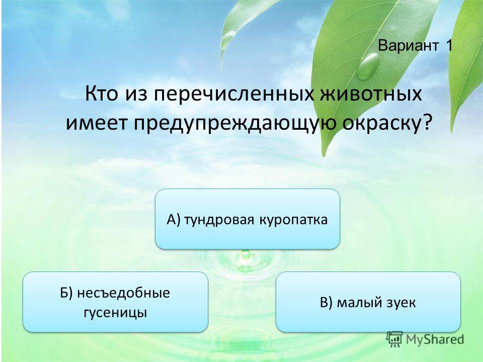 Вариант 1 Кто из перечисленных животных имеет предупреждающую окраску? Б) несъедобные гусеницы Б) несъедобные гусеницы А) тундровая куропатка В) малый зуек
