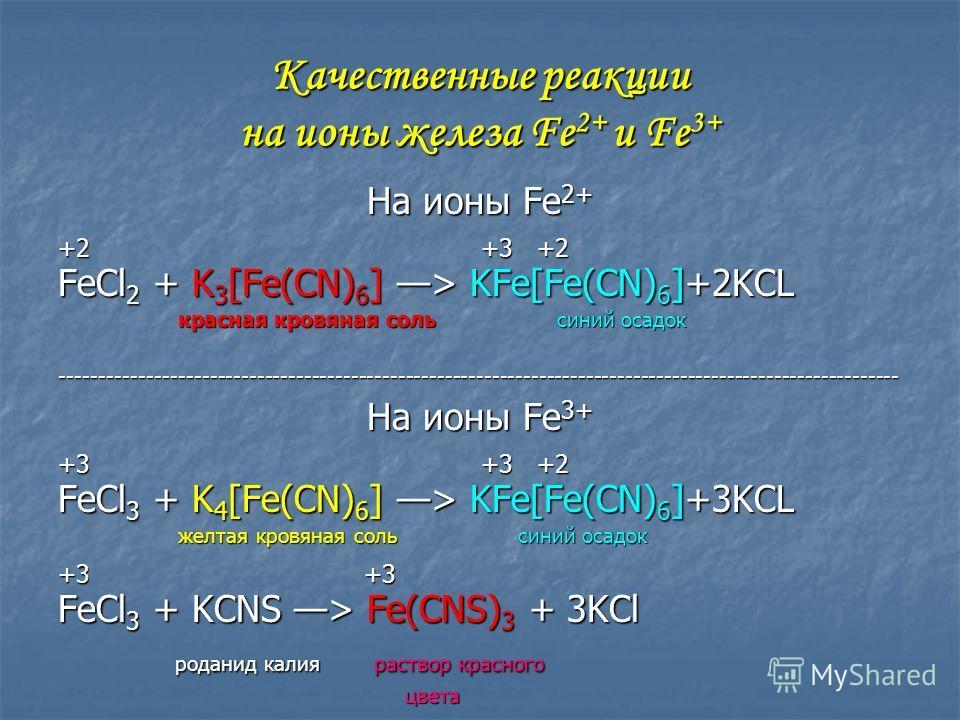 Качественные реакции на ионы железа Fe 2+ и Fe 3+ На ионы Fe 2+ +2 +3 +2 FeCl 2 + K 3 [Fe(CN) 6 ] > KFe[Fe(CN) 6 ]+2KCL красная кровяная соль синий осадок красная кровяная соль синий осадок-------------------------------------------------------------