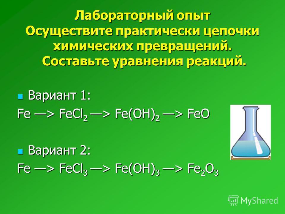 Лабораторный опыт Осуществите практически цепочки химических превращений. Составьте уравнения реакций. Вариант 1: Вариант 1: Fe > FeCl 2 > Fe(OH) 2 > FeO Вариант 2: Вариант 2: Fe > FeCl 3 > Fe(OH) 3 > Fe 2 O 3