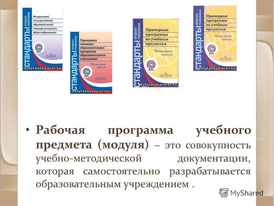 Рабочая программа учебного предмета (модуля) – это совокупность учебно-методической документации, которая самостоятельно разрабатывается образовательным учреждением.