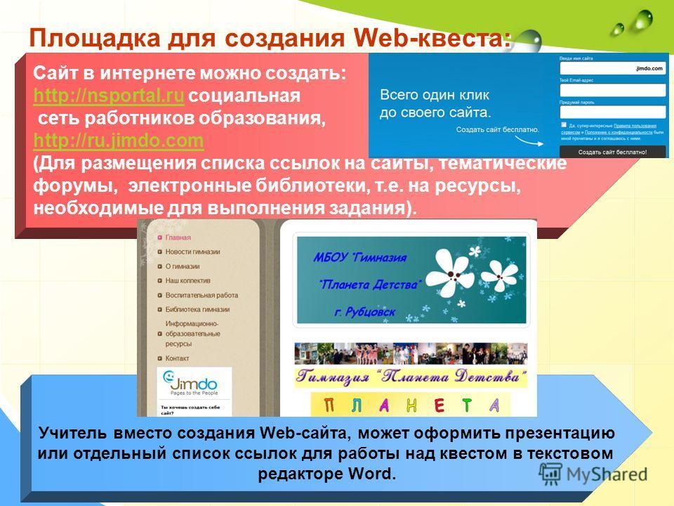 Площадка для создания Web-квеста: Учитель вместо создания Web-сайта, может оформить презентацию или отдельный список ссылок для работы над квестом в текстовом редакторе Word. Сайт в интернете можно создать: http://nsportal.ruhttp://nsportal.ru социал